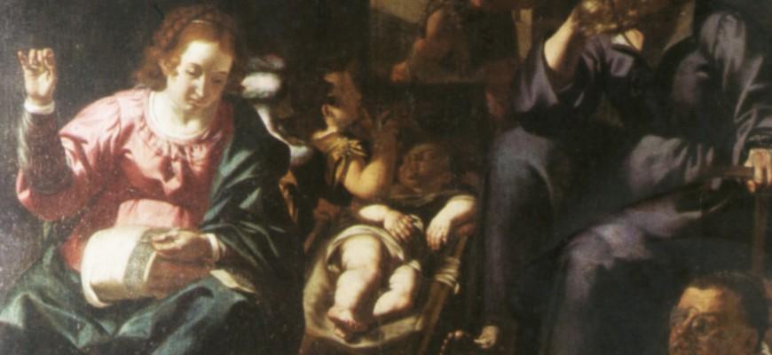 """Sacra Famiglia del """"cucito"""" con S. Giovannino e ritratto di donatore in preghiera"""